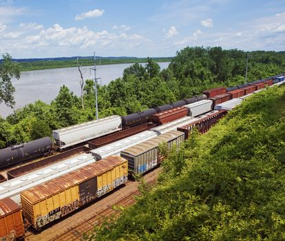 Kansas USA freight trains elevated view