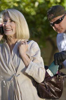 Thief pick pocketing wallet from senior woman's handbag