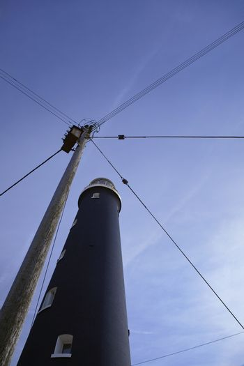 Dungeness Kent UK lighthouse low angle view