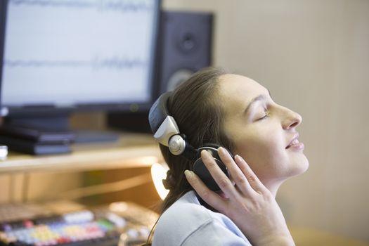 Sound engineer enjoying music
