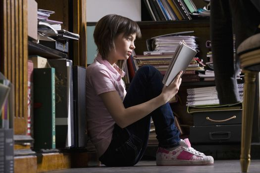 Teenage girl at library