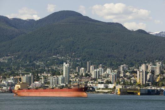 Cargo Ship At Harbor