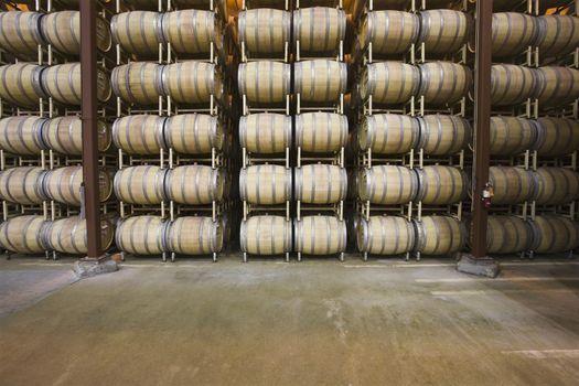 Wine barrels in storage Santa Maria California