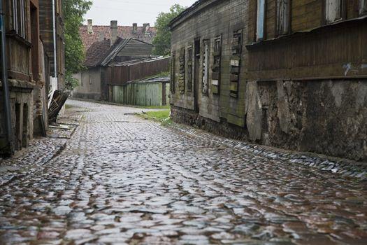 Wet Cobbled Street