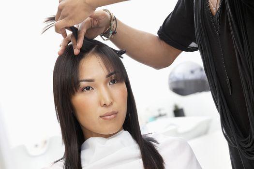 Young woman having haircut at beauty salon