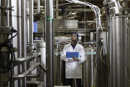 Factory worker inspecting bottling factory
