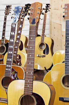 Guitars at music store