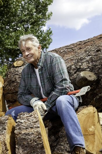 Senior man sitting on wood logs with an axe