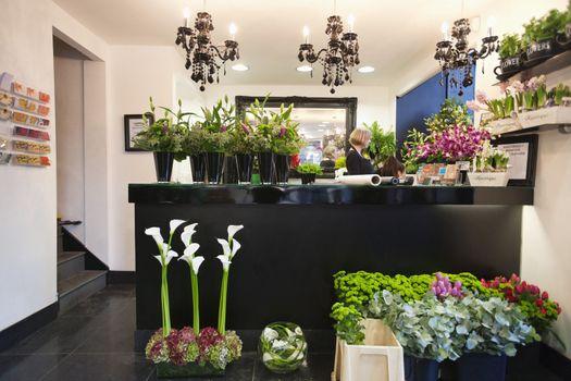 Woman working in florist shop