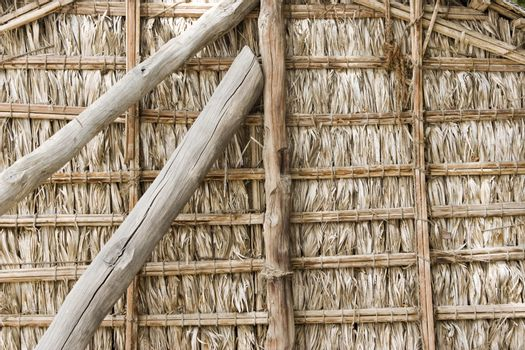 Dubai UAE Detail of wood thatch houses on display at Heritage Village in Bur Dubai