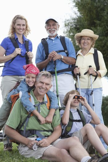 Family with walking equipment