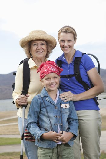 Mother daughter and grand-daughter on activity holiday portrait