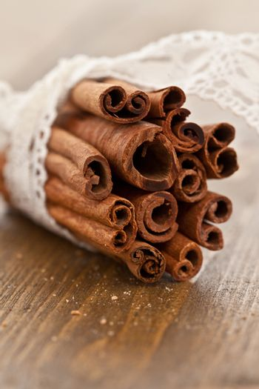 Cinnamon sticks rolled in a bundle