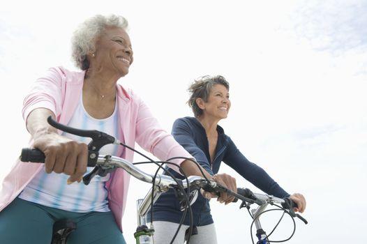 Senior women on cycle ride
