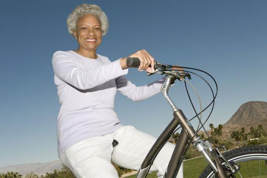 Senior woman on mountainbike