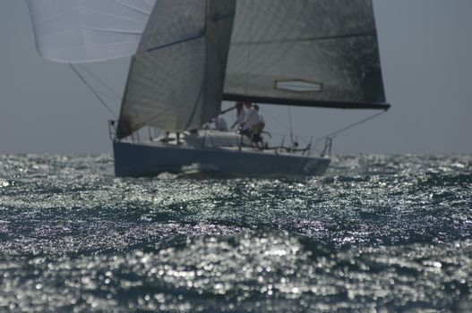 Yacht competes in team sailing event California
