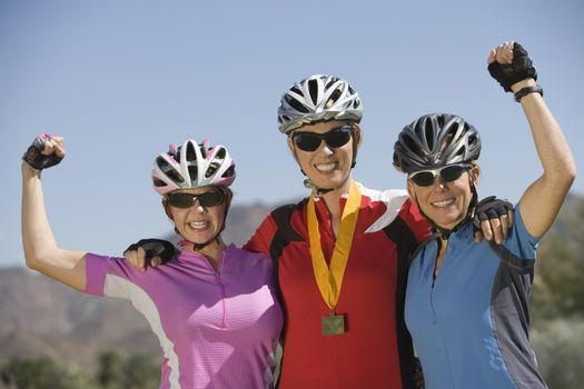 Three female cyclists win cycling contest