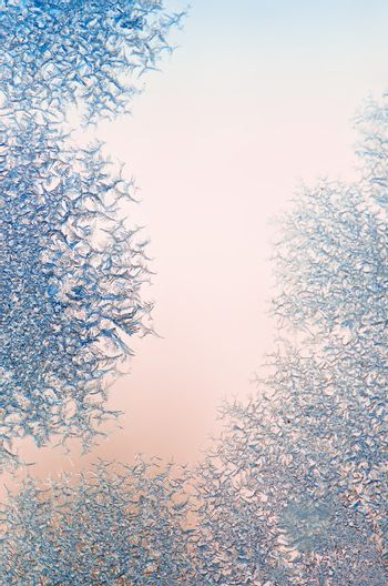 ice crystals on a window , close-up