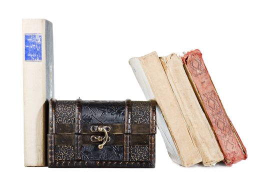pile of old books, isolated on white