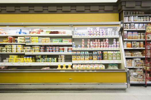 View of a fridge counter in supermarket