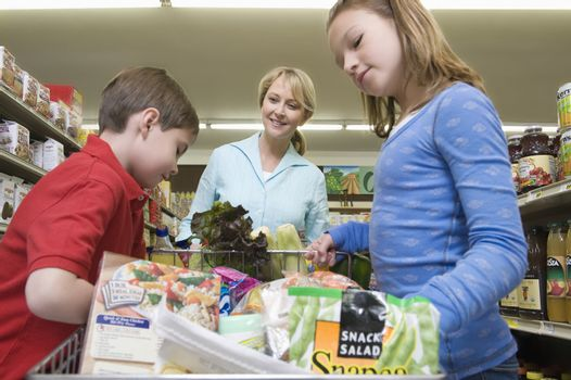 Single mother shopping with son and daughter