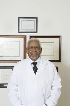 Senior medical practitioner and framed certificate