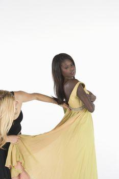 Yellow dress fitting