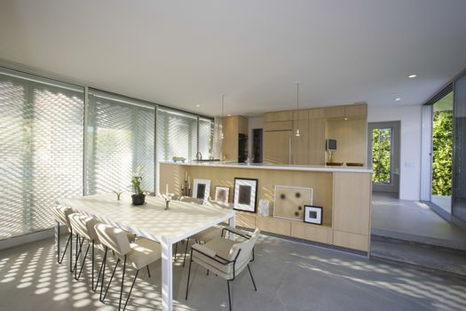 View of modern dining area at home