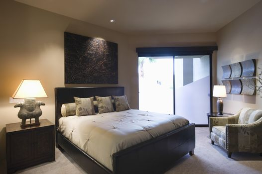 Lit bedroom of palm Springs home