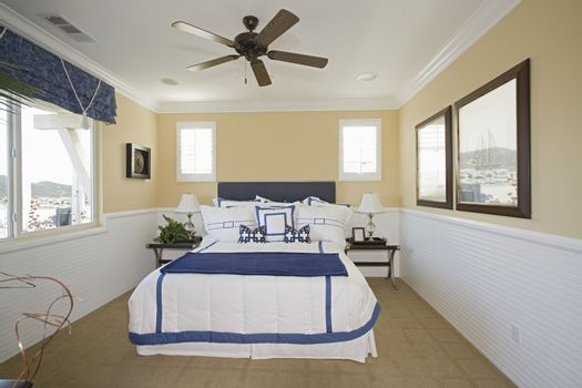 View of nautical themed bedroom at a home
