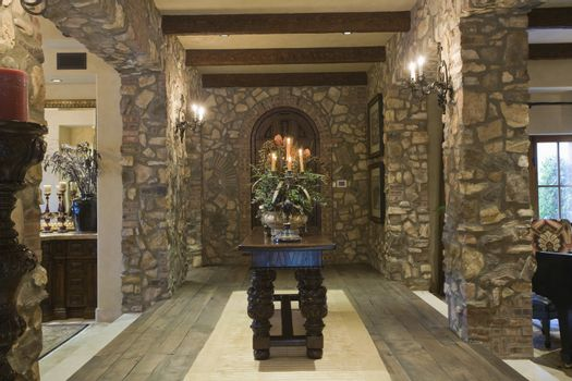 Stone entrance hallway at a spacious house