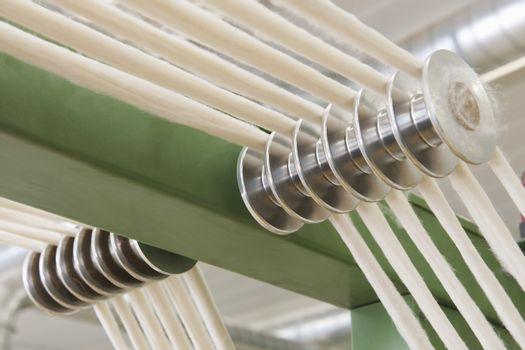 Closeup of machinery part at spinning factory