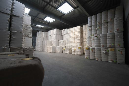 View of cotton stacked in spinning factory