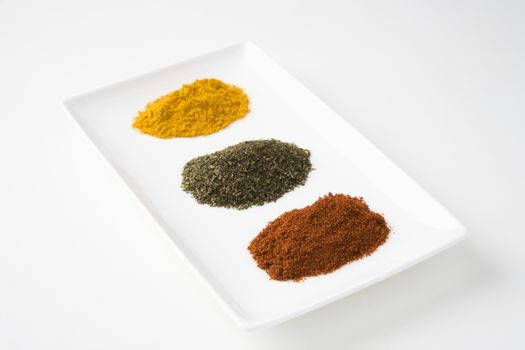 Spices With Green Tea In Tray