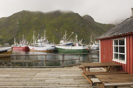 Fishing boats in harbour of Lofoten Islands Norway