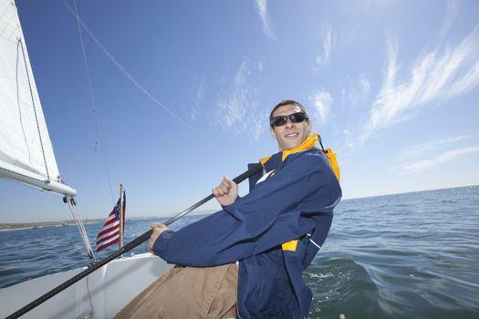 Young man sailing
