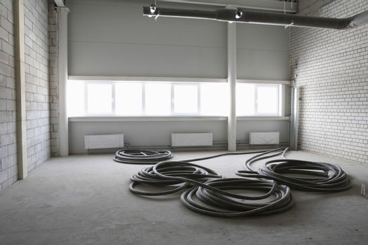 Cable wires in empty warehouse