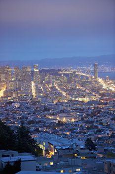 San Francisco lit up at night