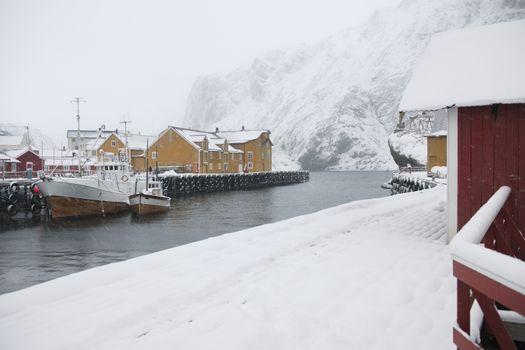 Fishing harbour in Nusfjord Flakstadoya. Loftofen Archipelago Norway