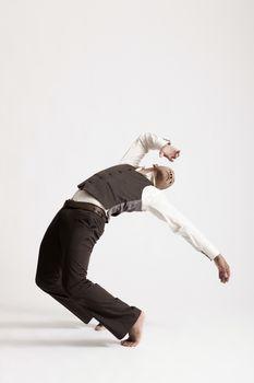 Jazz dancer with barefeet