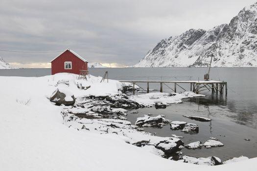 Remote house in coastal landscapeSkjelfjord Flakstadoya  Loftofen Norway