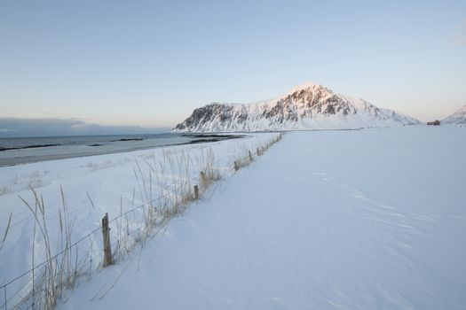 Coastal landscape on Flakstadoya island Loftofen Norway