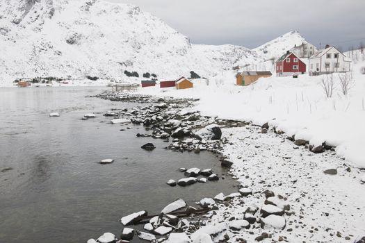 Village in coastal landscape Skjelfjord Flakstadoya Loftofen Norway