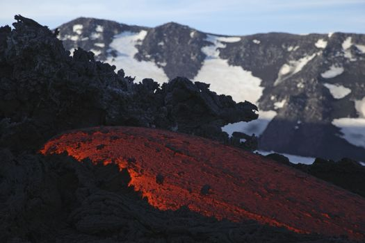 Molten lava flows from Mount Etna in Sicily Val de Bove