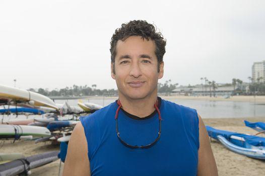 Portrait of sportsman in marina