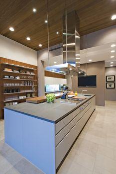 Breakfast bar in contemporary kitchen