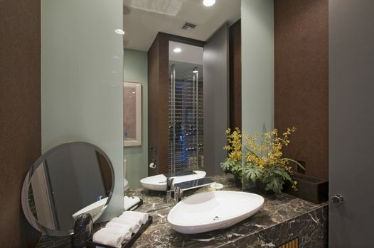 Residential bathroom with marble surface in California home