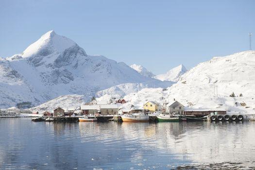 Coastal landscape and fishing village Sund in Flakstadoya Loftofen Norway
