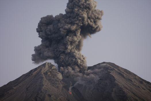 Cloud of volcanic ash from Semeru Java Indonesia