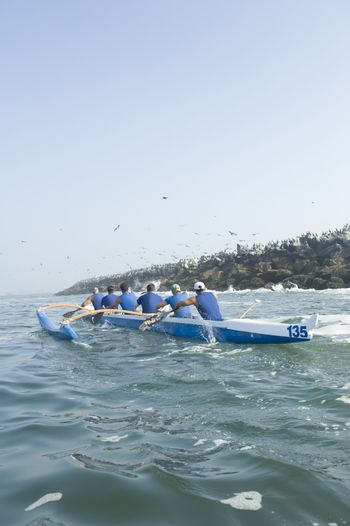 Outrigger canoeing team in training